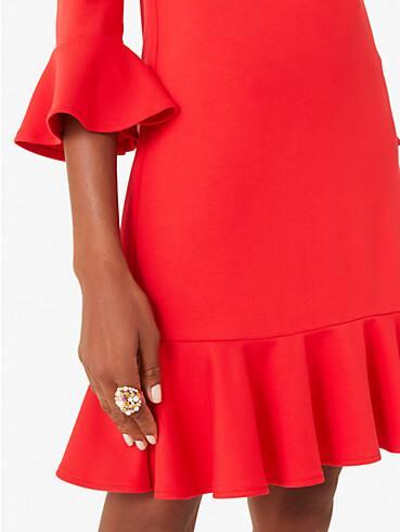 ponte flounce shift dress, , rr_productgrid