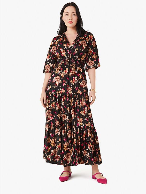 floral bouquet silk twill dress, , rr_large