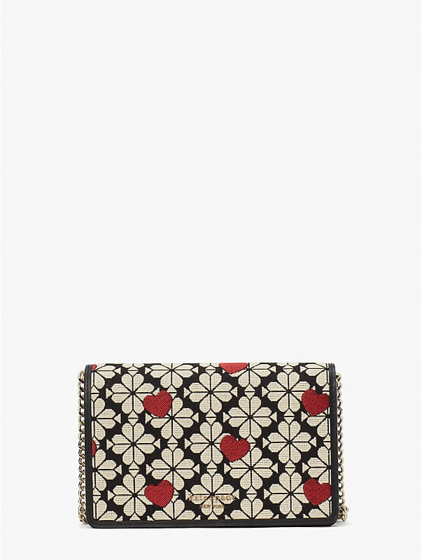 spade flower jacquard hearts chain wallet, , rr_large