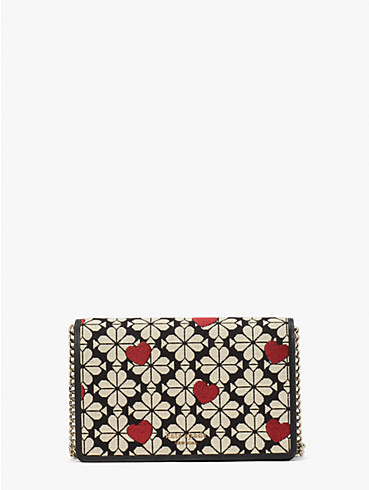 spade flower jacquard hearts chain wallet, , rr_productgrid