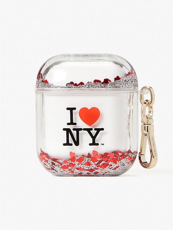 I Heart NY x kate spade new york Hülle für Airpods mit Glitzer in Flüssigkeit, , rr_large