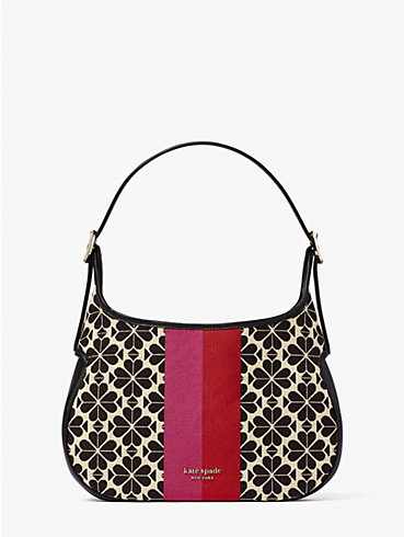 spade flower jacquard stripe penny small hobo bag, , rr_productgrid