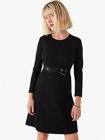 bow-waist ponte dress, , rr_productgrid