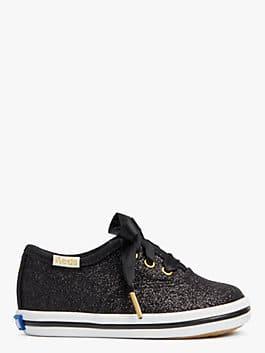 keds kids x kate spade new york champion glitter crib sneakers, black, medium
