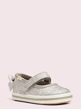keds x kate spade new york sloan mary jane crib sneakers, silver, medium