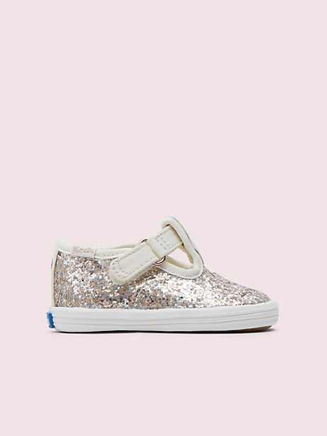 keds kids x kate spade new york champion t-strap crib sneakers, multi metallic glitter, large by kate spade new york