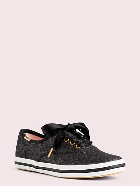 keds kids x kate spade new york champion glitter youth sneakers, black, large by kate spade new york