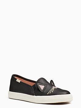 keds x kate spade new york hayden cat double decker youth sneakers, black, medium