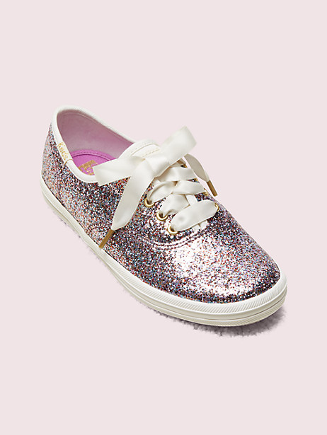 keds kids x kate spade new york champion glitter youth sneakers , multi glitter, large by kate spade new york