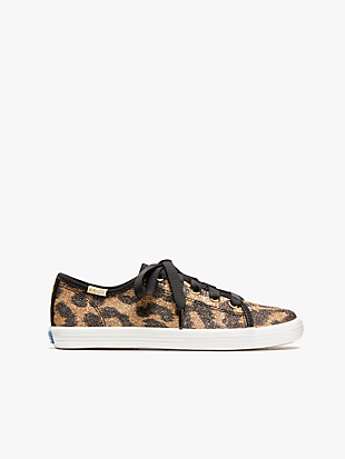 keds kids x kate spade new york kickstart glitter leopard youth sneakers by kate spade new york hover view