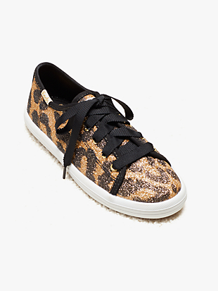 keds kids x kate spade new york kickstart glitter leopard youth sneakers by kate spade new york non-hover view