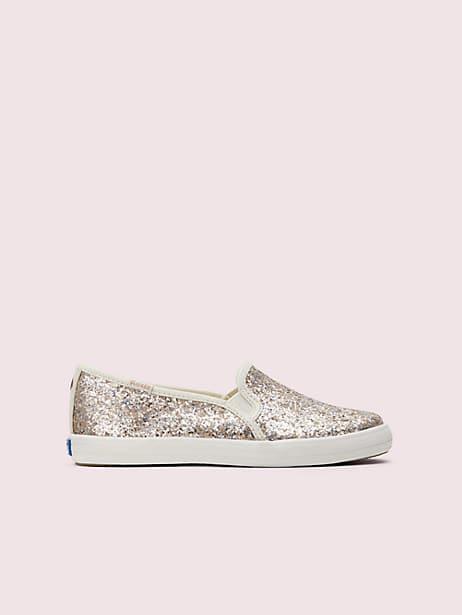 keds kids x kate spade new york double decker youth sneakers, multi metallic glitter, large by kate spade new york