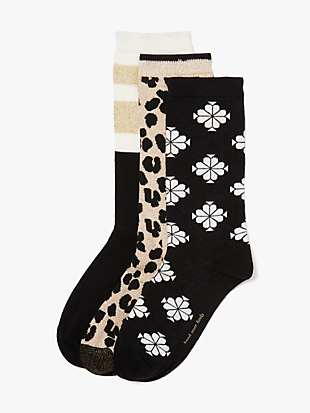 forest feline 3-pack crew sock by kate spade new york non-hover view