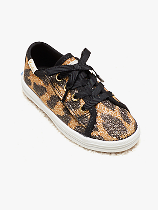 keds kids x kate spade new york kickstart glitter leopard toddler sneakers by kate spade new york non-hover view