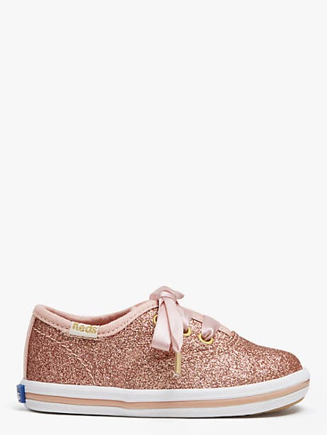 keds kids x kate spade new york champion glitter crib sneakers, rose gold, large by kate spade new york