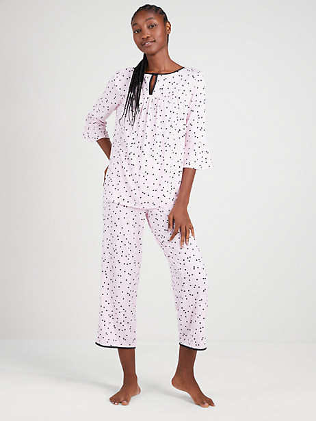 pink dot long pj set, pink dot, large by kate spade new york