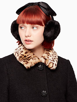 earmuff with satin bow, black, medium