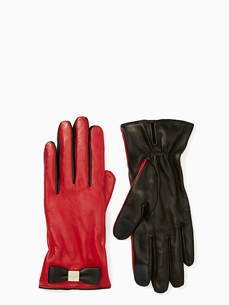 bow touchscreen gloves, charm red, large by kate spade new york