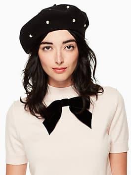 pearl beret, black, medium