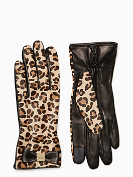 cheetah leather gloves, cheetah, medium