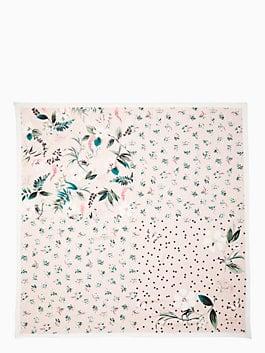 botanical patchwork silk square scarf, cameo pink, medium