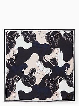 stallions silk scarf, black, medium