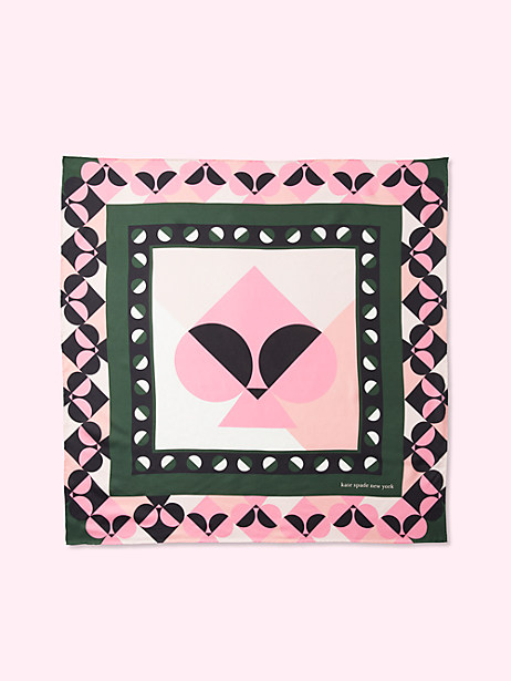 spade border silk square, forest floor, large by kate spade new york