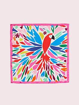 cut paper parrot square, cream, medium