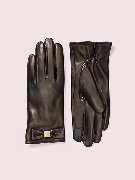leather bow tech gloves, black/black, large by kate spade new york