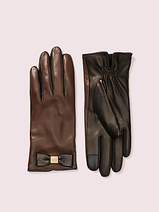 leather bow tech gloves by kate spade new york non-hover view