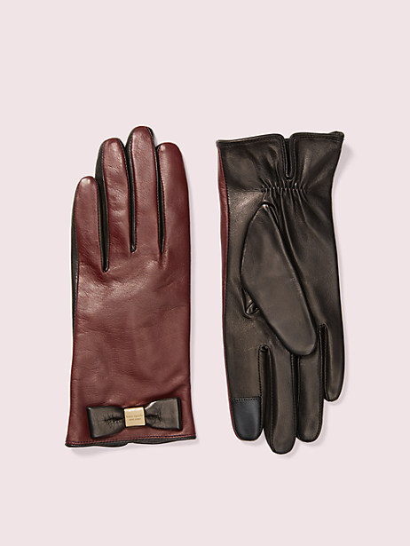 leather bow tech gloves, midnight wine/black, large by kate spade new york