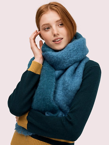 fuzzy woven scarf, stained glass blue, large by kate spade new york