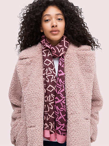interlock spade oblong scarf, mission fig, large by kate spade new york