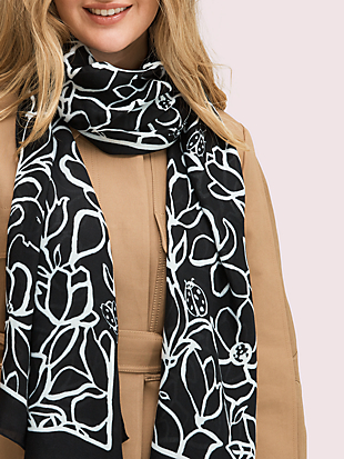 scribble flora oblong scarf by kate spade new york non-hover view