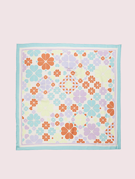 spade clover patchwork square scarf, pale dogwood, large by kate spade new york