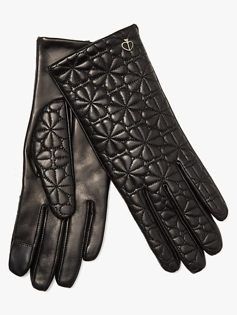 spade flower quilted leather gloves, black, large by kate spade new york