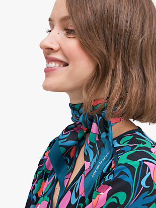 floral swirl silk skinny scarf by kate spade new york non-hover view