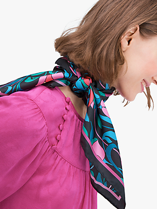 floral swirl silk square scarf by kate spade new york non-hover view