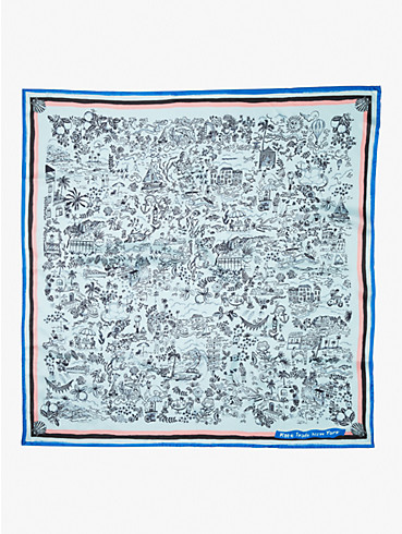 holiday travel toile silk square scarf, , rr_productgrid
