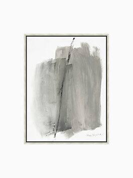 grey wash framed painting, grey, white, black, medium