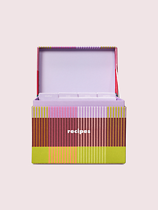 rainbow plaid recipe box by kate spade new york hover view