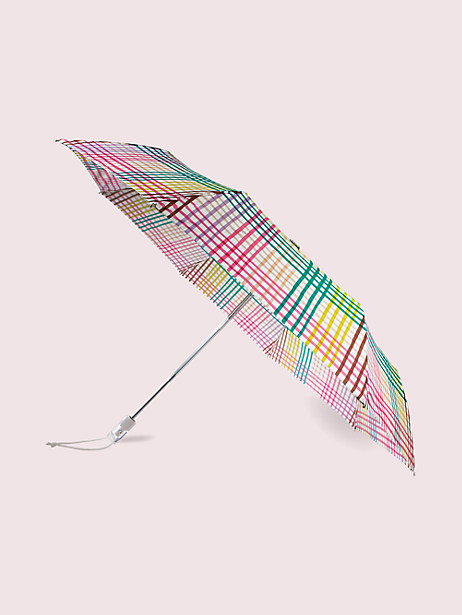 rainbow gingham travel umbrella by kate spade new york