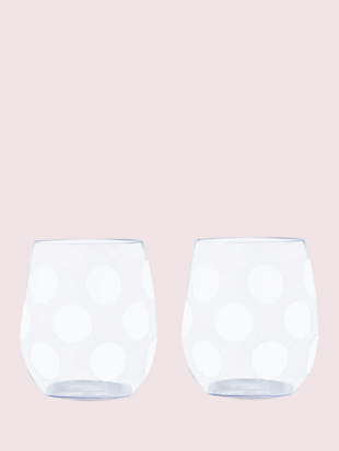 jumbo dot stemless wine glasses by kate spade new york non-hover view