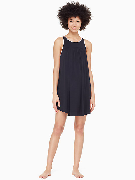 jersey blend bow chemise, black, large by kate spade new york