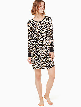 printed sleepshirt & eyemask, leopard, medium