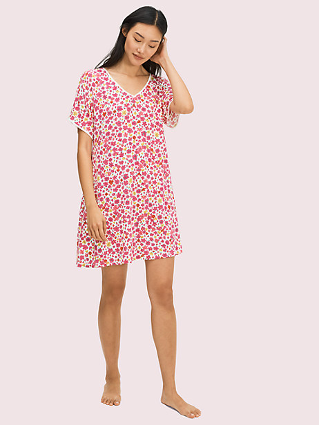 marker floral sleepshirt, pink, large by kate spade new york