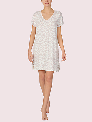leopard short sleeve sleepshirt by kate spade new york non-hover view