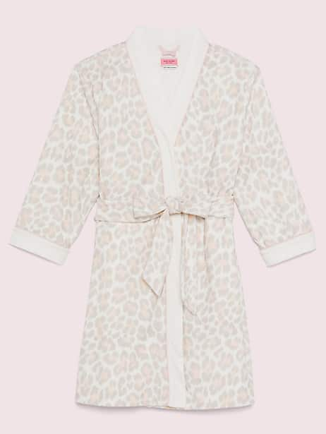 leopard robe, white/animal print, large by kate spade new york