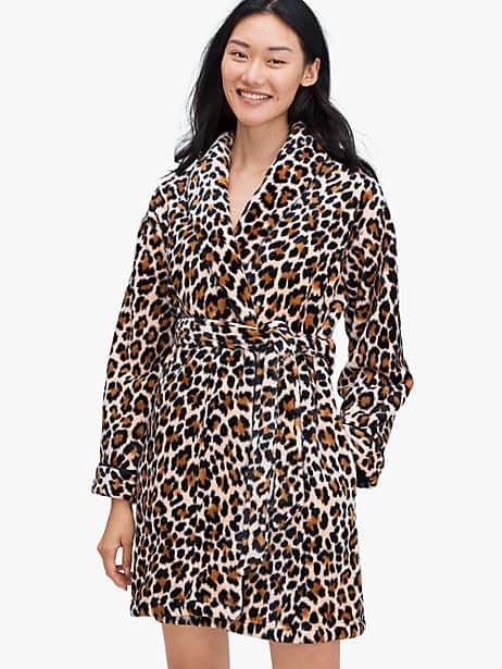 leopard robe, brown, large by kate spade new york