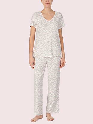 leopard short sleeve lounge top by kate spade new york hover view